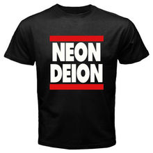 Neon Deion Sanders Primetime Atlanta Men's Black T-Shirt Size S M L XL  2XL Summer Short Sleeves Cotton T Shirt Fashion