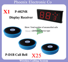315mhz Wireless Call Bell System Wireless Waiter Call System Waiter Calling System 1 Receiver 402NR & 25 Button Call D1(China)