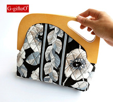 Floral Printing Shoulder Bag Retro Vintage Antique Clutch Bag Leather Strap Wood Frame Funky Bag(China)
