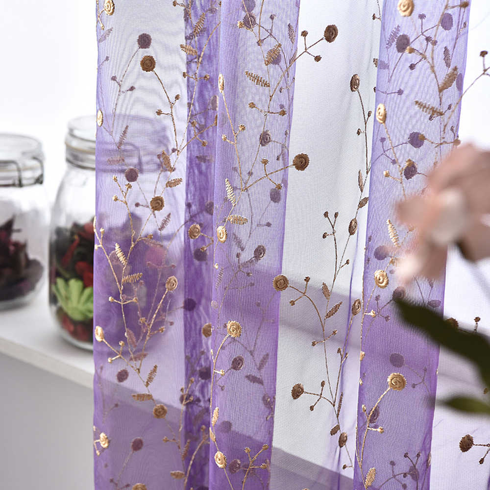 White Tulle Curtains For Living Room Embroidered Transparent Coffee Sheer For Bedroom Blue Curtain Yarn Purple Tulle  WP120&2
