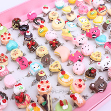 Wholesale100pcs Mix Lot Animals  cake Assorted Silver Plated Metal Baby Kids Girl Children's Cartoon Rings With Display Box