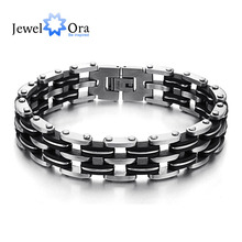 Hot Selling 215mm Fashion 3-layers Stainless Steel Men Bracelets & Bangles Punk Black Men Wirstband Bracelets(JewelOra BA101389)