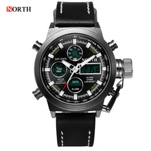 2016 Original Brand Watch men Leather Digital-watch Sports Wristwatch LED Analog Digital Watch men Military Wrist Watches