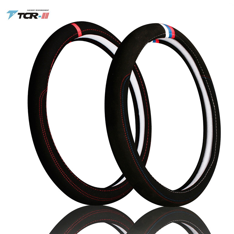 Car accessories Leather Car steering wheel cover All year can use sport Car styling Auto steering wheel Diameter  (4)