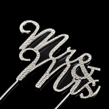 Sparkles Silver Crystal Rhinestone Cake Topper Wedding Monogram Mr & Mrs Party Decors Keepsake Marriage Crafts Supplies Romantic