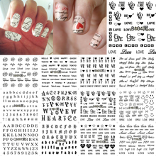 12 Sheets Nail Art Water Transfer Sticker Black English Letter Number Love Decals Stickers Wrap Tips Decoration B097-108(China)