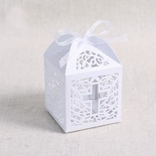 50Pcs Ribbon Paper Laser Cut Out Cross Gift Candy Box Wedding Party Favor Boxes