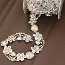 Top-Grade Crystal AB Tassel Glass Wide Rhinestone Cup Chain Silver Base  Trim Applique Sew on Rhinestones For Dance Dress bf8b551b8932