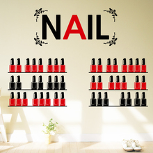 2015 New Arrived Nail Art Vinyl Wall Decal Cosmetics Beauty Background Stickers Nail Shop Decoration Glass Window Wall Sticker(China)