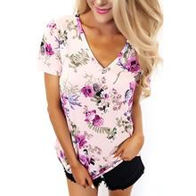 Women T Shirt Summer Short Sleeve V-Neck Floral Printed T-Shirts Casual Tops B6371E