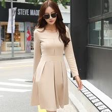 2017 New Arrival Korean Women Winter Autumn Dress Solid Long Sleeve Knee Length Draped Casual/Formal Office Dress  AW507