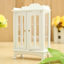 DIY Decoration Crafts Gift 1/12 Miniature Doll house Furniture Modern White Wooden Display Cabinet Ornament Kids Children Toys