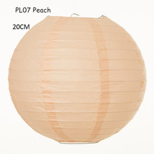 20CM=8inch 8pcs/lot Peach Chinese Japanese Round Paper Lampions Rice Paper Lanterns Wedding Decoration Birthday Party Supplies(China)