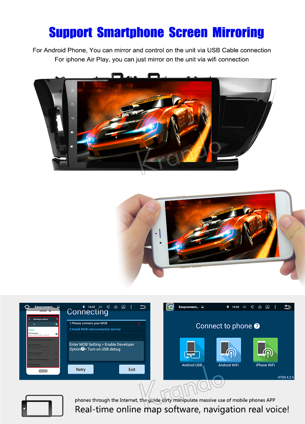Krando Android car radio gps navigation multimedia system for toyota corolla 2014 2015 2016
