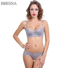 Buy BRESNA Big Size Half Cup Lace Bra Bow Demi Push-up Bra Set Thin Padded Girls Underwear Set Sexy Lingerie Plus Size 95CD