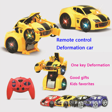 Kid toys 1:14 RC Transformation car Boy Puzzle electric remote control robot car 4ch Deformation cartoon toy one key transition