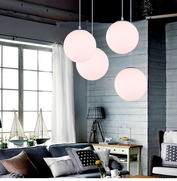 modern brief white acryl round ball pendent lights E27 bulb creative pendent lamp for dining room bar cafe shop A103<br>