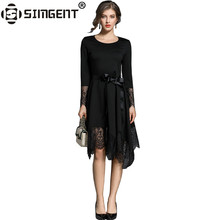 Buy Simgent Robe Vintage Womens Long Sleeve See Patchwork Elegant Party Irregular Lace Black Dress Women's Clothes SG712212 for $23.43 in AliExpress store
