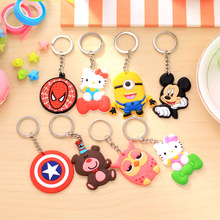 1PCS Lovely Animal Cartoon Bear Mickey Minnie Spiderman Hello Kitty Silicone Key ring Keychain Backpack  Accessories Key chains