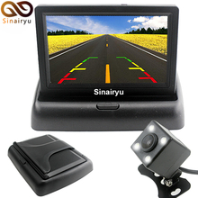 "Sinairyu 4.3""color TFT LCD Foldable Display Car Rear View Monitor + 4 LED HD Lights Night Vision Reversing Backup Parking Camer"