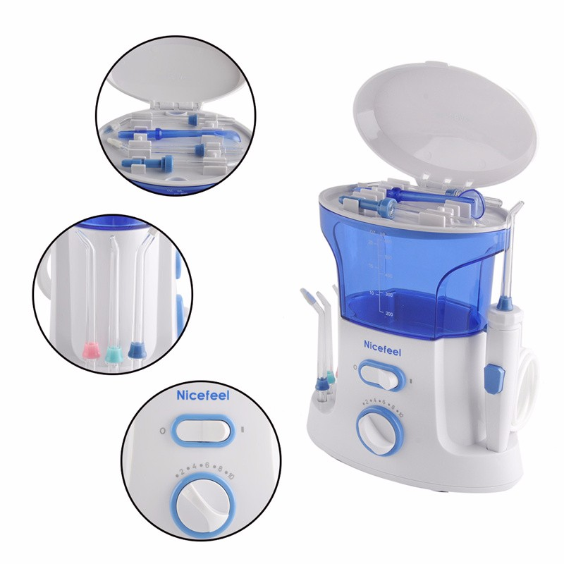 Dental Water Flosser + Quality Oral Irrigator with 7Pcs jet tip &amp; 600ML Water Tank for dental hygiene &amp; tooth care FC168 Blue<br>