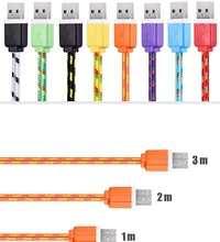 1/2/3m Long nylon braided micro USB V8 fast power charger charging data transfer line cord wire cable for Samsung Oppo Huawei