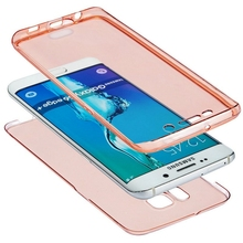 For Samsung Galaxy S6 S7 Edge Plus A3 A5 A7 2016 S4 S5 Note 4 5 J5 J7 Front Transparent TPU Soft Touch Case full body Clear Case