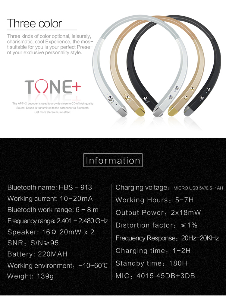 TYAYA New 2017 Neckband Portable Sport Headsets Stereo Wireless Bluetooth Earphones for Mobile Phone Black Sliver Gold Earphone