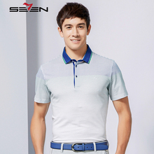 Seven7 Men Slim Fit Polo Shirts Short Sleeve Thin Plaid Pattern Gradient Colorful Polo Shirts Brand Casual Polo Shirts 110T50300