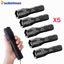 High Power CREE XML-T6 5 Modes 3800 Lumens LED Flashlight Waterproof Zoomable rechargeable Torch lights 5pcs/lot zk70(China)