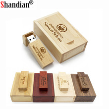SHANDIAN (over 10 PCS free LOGO) Photography wooden usb + box usb flash drive memory stick pendrive 8GB 16GB 32GB wedding gifts(China)
