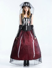 Vocole Halloween Vampire Ghosts Bride Costumes Fancy Dress Cosplay Skeleton Sleeveless Lace Long Dress Carnival Party Fantasia(China)