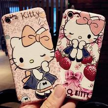 Cartoon Cute Hello Kitty Soft PU Leather for iPhone 7 7plus Phone Case Silk pattern For iphone 6 6s plus Back Cover Case Funda(China)
