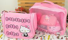 Bowknot Cartoon Hello Kitty Bathroom Pu Makeup Storage Bag Organizer Best For Travel Or Beach
