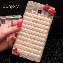 Buy Sunjolly Pearl bowknot Diamond Case Huawei P6 P7 P8 Lite 2017 P9 Lite P9 Plus P10 Bling Rhinestone Cover coque fundas capa for $7.99 in AliExpress store