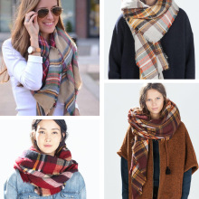 Za Winter 2015 Tartan Scarf Plaid Scarf Green Famous Scarf Women Winter Designer Unisex Basic Shawls Women's Big Size Scarves