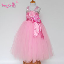 Girls Baby Pink Rosette Dresses Summer Baby Girl Clothes Princess Tutu Children's Dresses Kids Clothes Vestidos Infantis