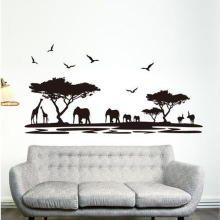 1 PCS High Quality Design Black Fashion African Animal Wall Stickers Detachable Living Room Bedroom Home Decor Art Sticker(China)