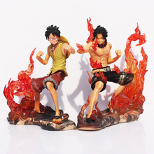 Boxed 2pcs/Lot Brotherhood One Piece DX Luffy VS Ace  Anime Cartoon  2 Years Later  PVC Action Figure Toy