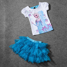 Retail 2017 New Summer Kids Girls Clothing Set Elsa t shirt + Dress Cotton Baby Girls Suits Set fashion Children Girl Clothes