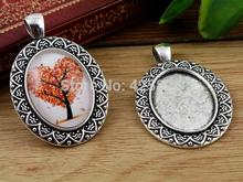 4pcs 18x25mm Inner Size Antique Silver Flowers Style Cameo Cabochon Base Setting Charms Pendant necklace findings (C2-13)(China)