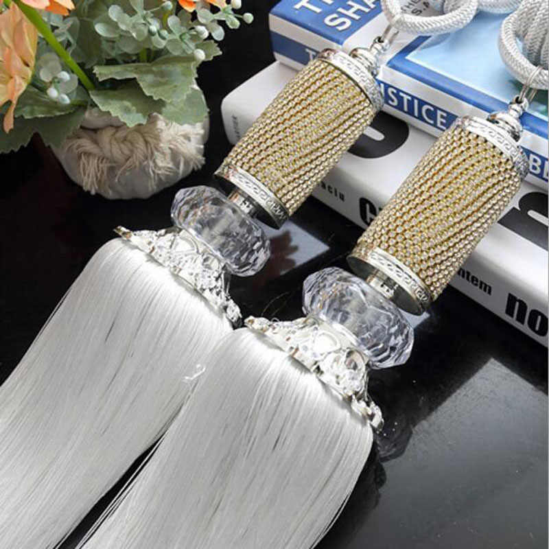1 Pair Elegant Rhinestone Curtain Tieback Tassel Hanging Ball Holdbacks Tie Rope Bandage Decoration Home Accessories  cp068#2