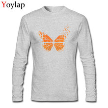 2017 Monarch Butterfly Printed Men Tee Shirts Tops T-shirt Cotton Fabric Long Sleeve Autumn Winter Fitted(China)