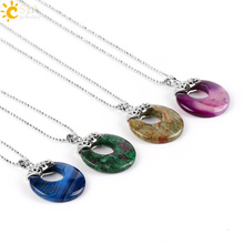 Buy CSJA Natural Gem Stone Necklace & Pendants Hollow Circle Lapis Lazuli Unakite Onyx Reiki Healing Women Men Jewelry Gift E518 for $2.28 in AliExpress store