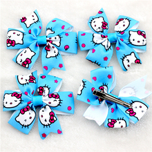 30pcs Little Girl Ribbon Bows Boutique Baby Bow clips Sky Blue Kitty Cat Magic Hairbows Children Hairpins(China)