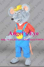 Custom Mascot Farmer Mouse Mascot Costume Adult Size Cartoon Character Rat Mascotte Mascota Fancy Dress SW1340(China)
