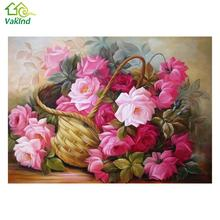 2017 Hot Needlework Resin Diamond Embroidery basket of flowers Diy Diamond Painting Rhinestones Round Drill Diamond 40*30 cm(China)
