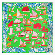 Luxury Brand Silk Square Scarf sailboat Printed Scarves High Quality Vintage Foulard NeckerChief Small Bandana Lady Hijab