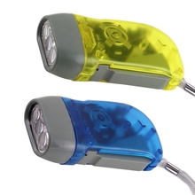 3 LED Dynamo Wind up Flashlight NR Torch Light Blue for Camping Brand New
