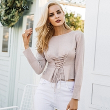 Simplee Waistband lace up knitted sweater women jersey Round neck casual knitting jumper Winter sweater pullover female 2017(China)